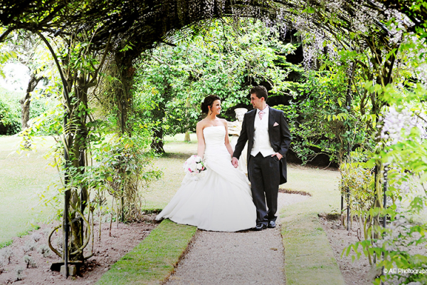A happy couple in the grounds of Packington Moor