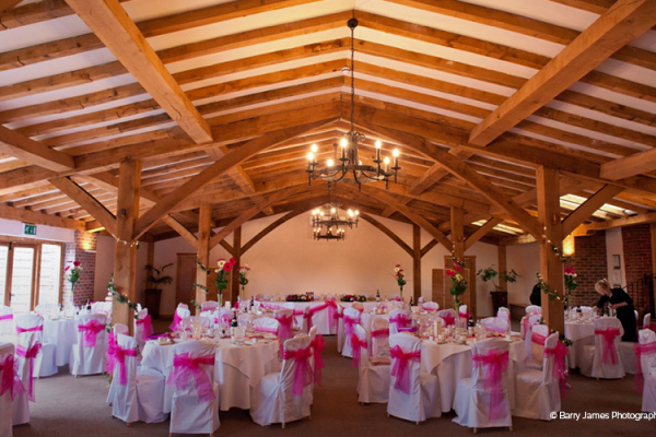 A pink themed wedding reception at Packington Moor