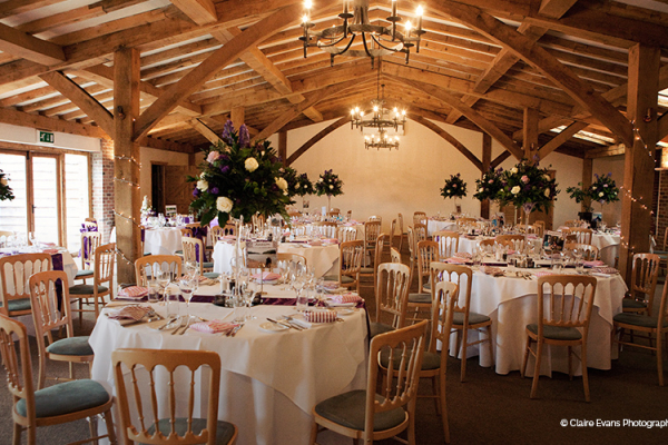 Tall table centrepieces at Packington Moor