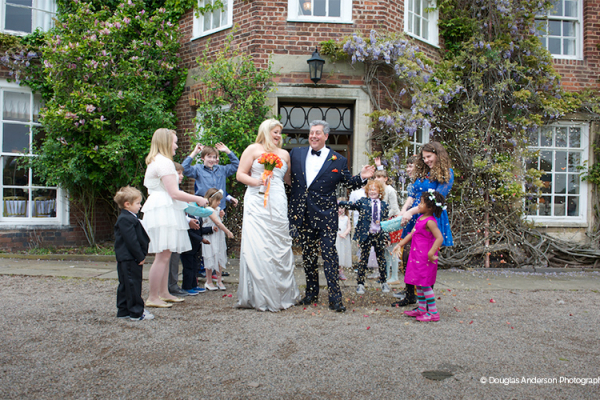 Wedding party outside Park Hall