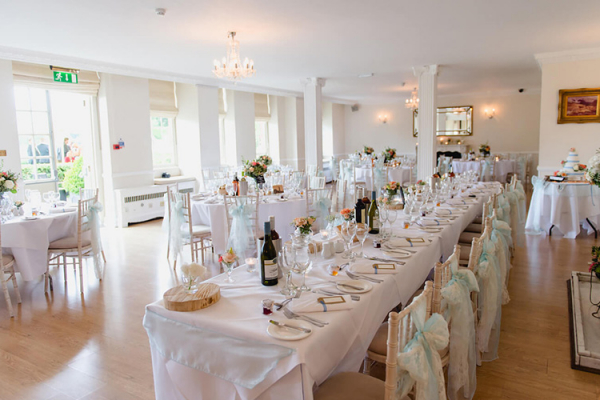 Set up for a wedding breakfast at Parklands wedding venue in Essex | CHWV
