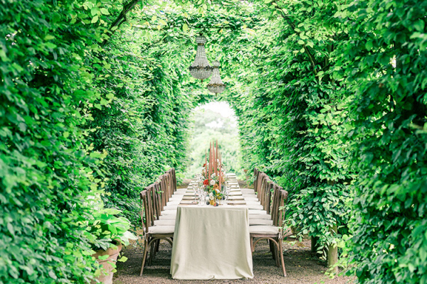 Set up for outdoor dining at Pauntley Court country house wedding venue in Gloucestershire | CHWV