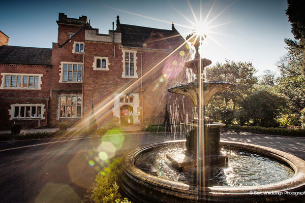 The water feature in the courtyard at Pendrell Hall wedding venue in Staffordshire | CHWV