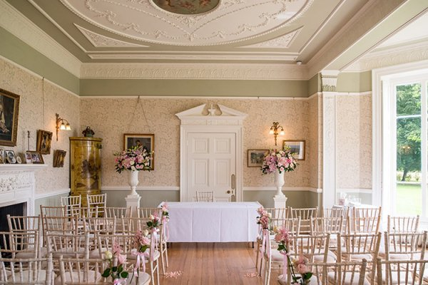 Set up for a wedding ceremony at Penton Park country house wedding venue in Hampshire | CHWV