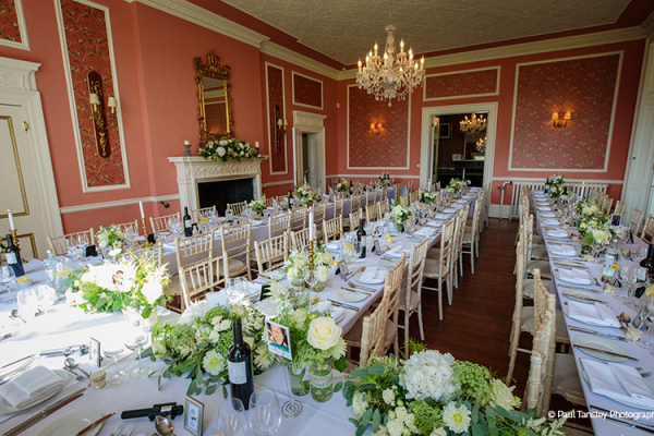Banqueting layout in the ballroom at Penton Park wedding venue in Hampshire | CHWV