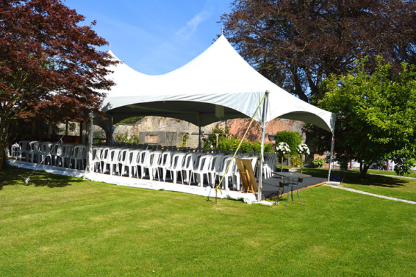 Set up for an outdoor wedding ceremony at Pentre Mawr Country House