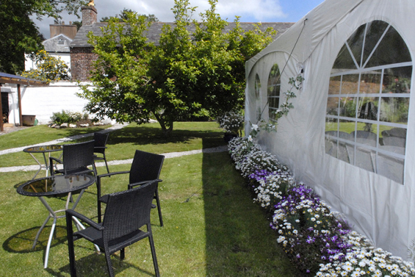 Marquee set up at Pentre Mawr Country House wedding venue in Denbighshire