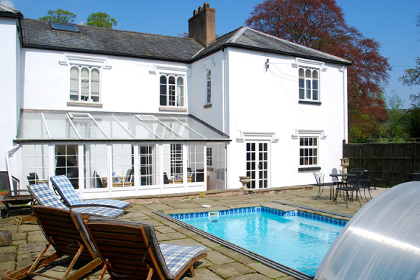 The outdoor pool at Pentre Mawr Country House in Denbighshire