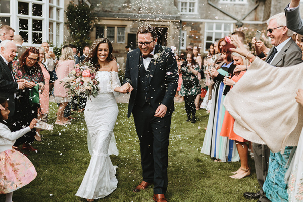 Just married at Plas Dinam country house wedding venue in Carmarthenshire | CHWV