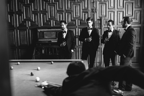 Groomsmen play snooker at Plas Dinam country house wedding venue in Carmarthenshire | CHWV