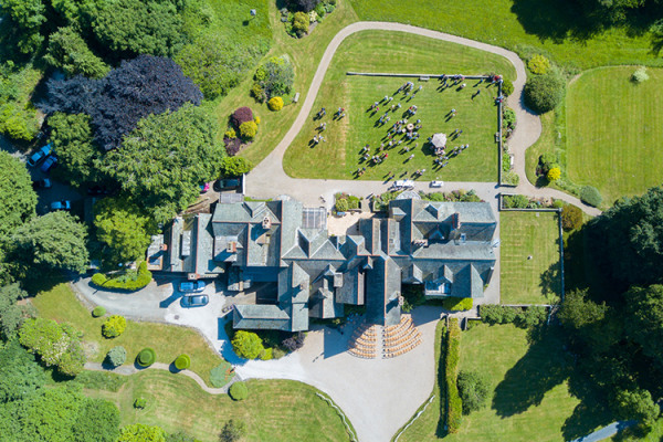 An aerial view of Plas Dinam country house wedding venue in Carmarthenshire | CHWV
