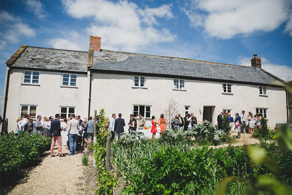 A drinks reception outside at River Cottage