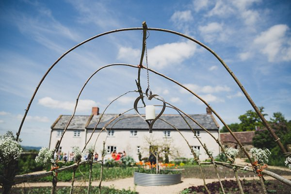 The hazel arch at River Cottage wedding venue