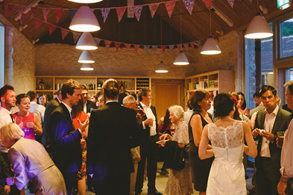 An evening wedding reception at River Cottage