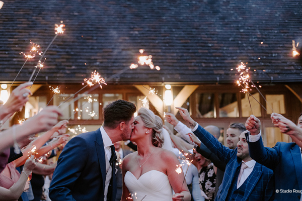 Sparklers at Rivervale Barn | Wedding Venues Hampshire