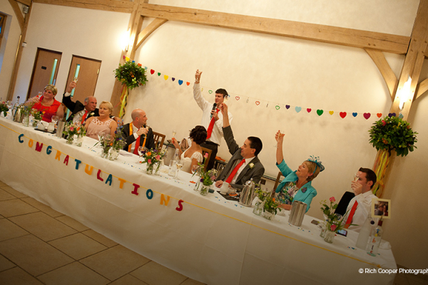 Speeches at a wedding reception at Rivervale Barn