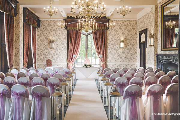 Set up for a wedding ceremony at Rowton Castle wedding venue in Shropshire | CHWV