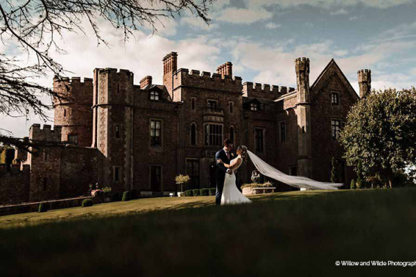 A happy couple taking a moment at Rowton Castle wedding venue in Shropshire | CHWV