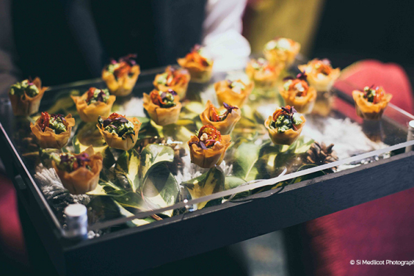 Delicious canapes at Rowton Castle wedding venue in Shropshire | CHWV