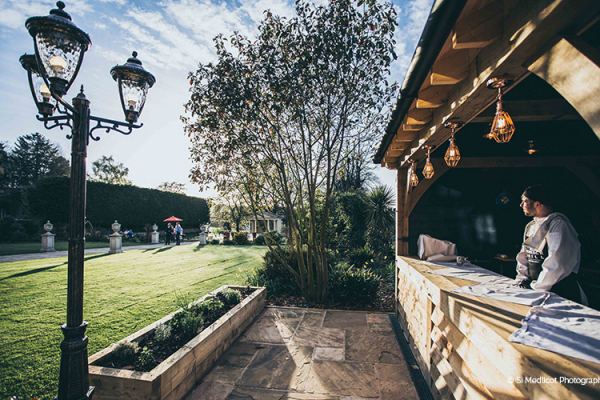 The outdoor bar at Rowton Castle wedding venue in Shropshire | CHWV
