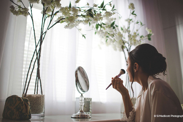 A bride getting ready at Rowton Castle wedding venue in Shropshire | CHWV