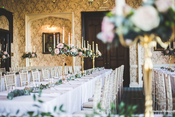 Set up for a wedding breakfast at Rowton Castle wedding venue in Shropshire | CHWV