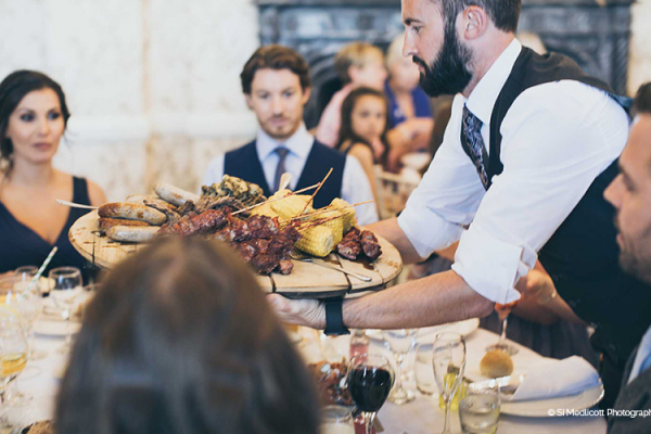 Delicious wedding breakfast BBQ food at Rowton Castle wedding venue in Shropshire | CHWV