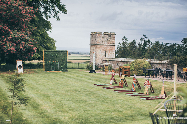 Garden games set up on the lawn at Rowton Castle wedding venue in Shropshire | CHWV