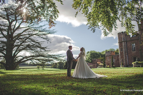 A couple taking a moment at Rowton Castle wedding venue in Shropshire | CHWV