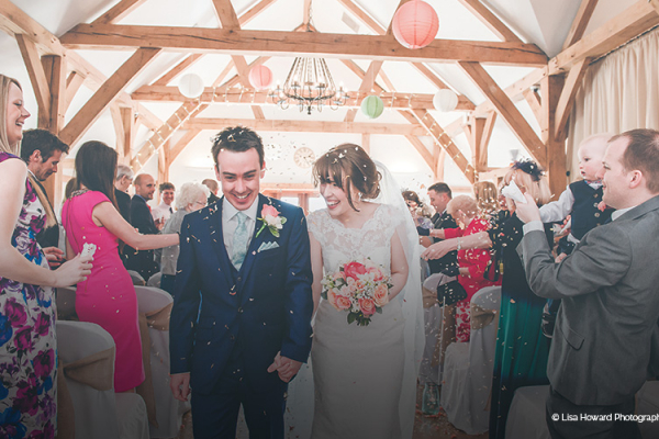 A happy couple just married at Sandhole Oak Barn