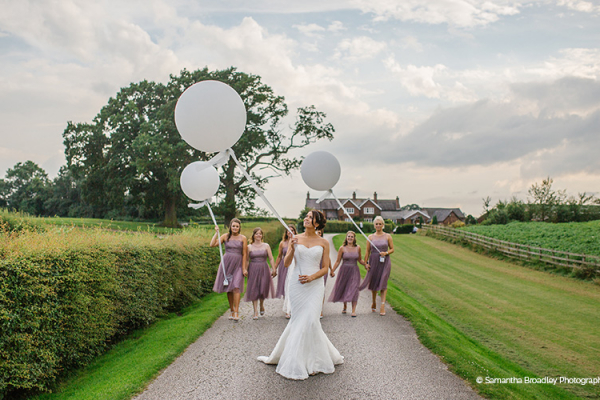 A Bride and her Bridesmaids at Sandhole Oak Barn | Wedding Venues Cheshire
