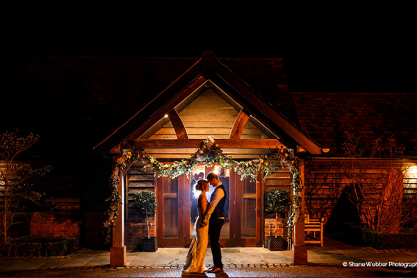 Nighttime at Sandhole Oak Barn | Wedding Venues Cheshire