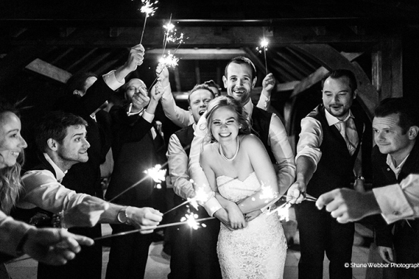Sparklers at Sandhole Oak Barn | Wedding Venues Cheshire