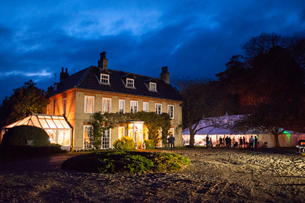 Sedgeford Hall wedding venue at night