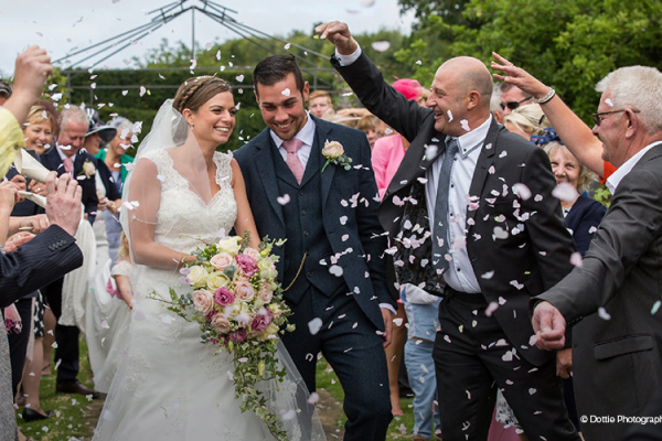 Confetti shot at Sedgeford Hall