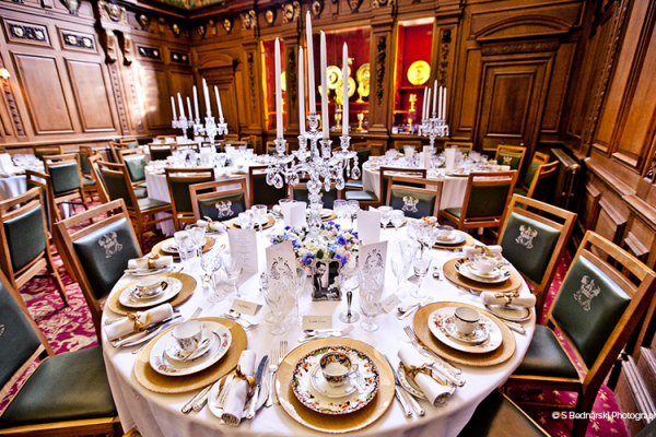 Set up for a wedding breakfast in The Great Hall at Skinners Hall wedding venue in London | CHWV