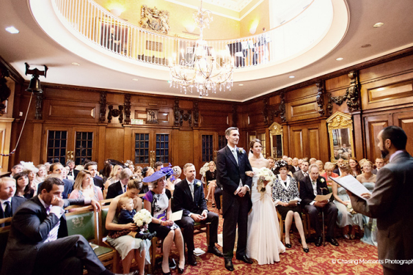 Romantic wedding ceremony at Skinners Hall wedding venue in London | CHWV