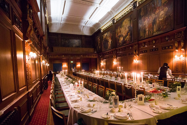 Set up for a wedding reception in The Great Hall at Skinners Hall wedding venue in London | CHWV