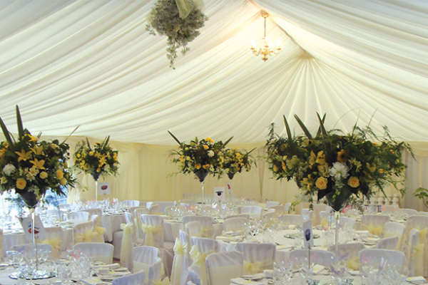 The marquee at Slaugham Place set up for a wedding reception