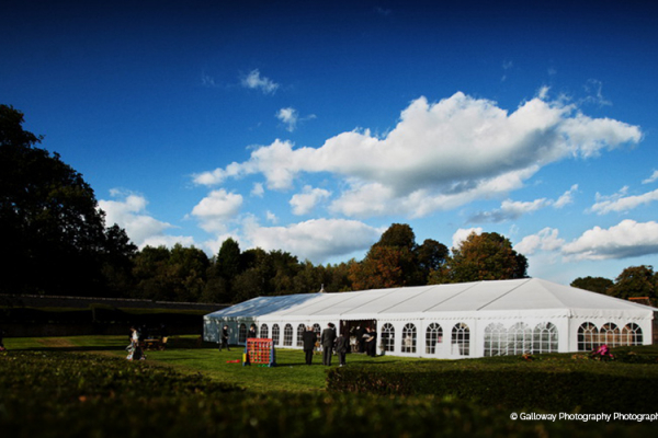 The marquee set up in the grounds at Slaugham Place