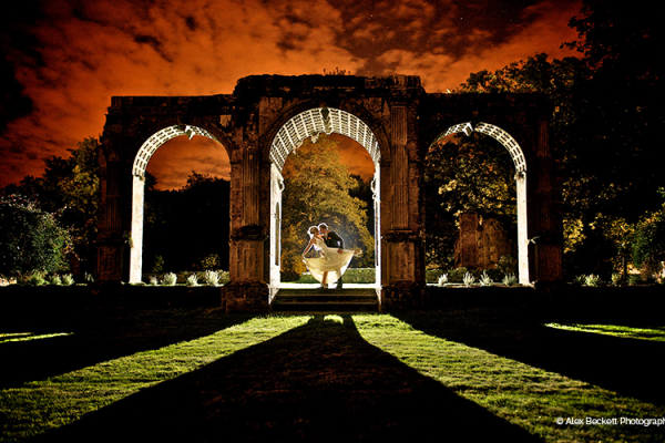 The ruins at night at Slaugham Place wedding venue
