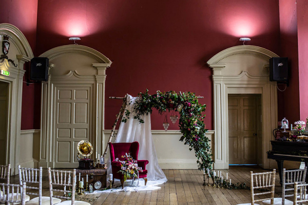 Set up for a ceremony at Slindon House wedding venue in West Sussex | CHWV