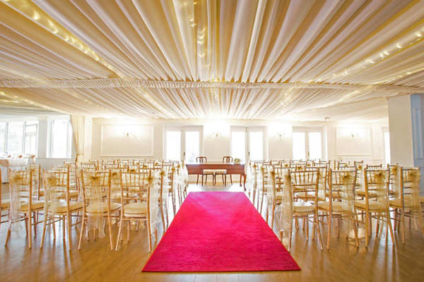 Set up for a wedding ceremony at Southdowns Manor wedding venue in West Sussex | CHWV