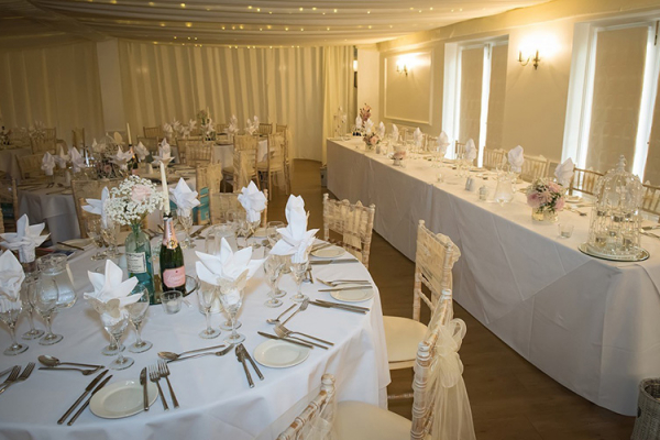 Set up for a wedding reception at Southdowns Manor wedding venue in West Sussex | CHWV