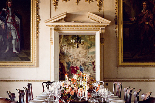 Set up for a wedding breakfast at St Giles House wedding venue in Dorset | CHWV