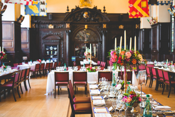 Set up for a wedding breakfast at Stationers' Hall and Garden wedding venue in London | CHWV