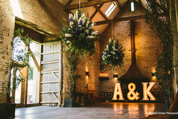 The barn decorated for a wedding at The Stone Barn wedding venue in Gloucestershire | CHWV