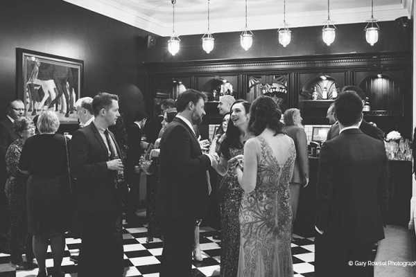 Reception drinks in the bar at Swynford Manor wedding venue in Cambridgeshire | CHWV