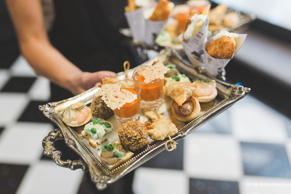 Canapes at the drinks reception at Swynford Manor wedding venue in Cambridgeshire | CHWV