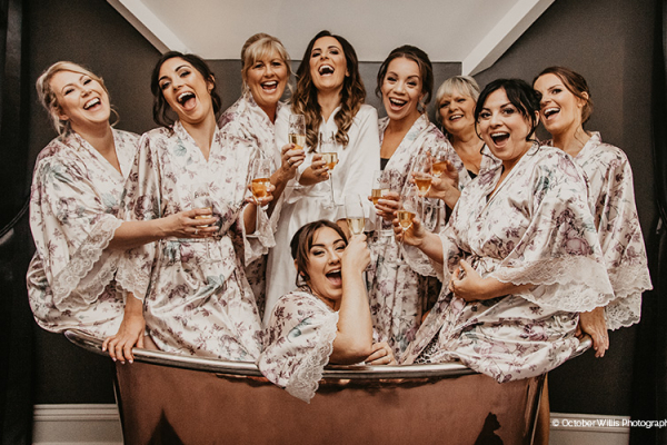 A bride and her bridesmaids getting ready at Swynford Manor wedding venue in Cambridgeshire | CHWV